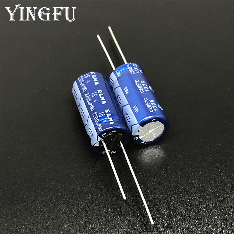100pcs 2200uF 16V ELNA RE3 Series 10x20mm 16V2200uF Audio Capacitor