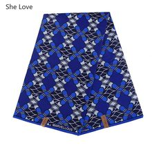 She Love 1Yard/lot African Wax Prints Fabric Navy Blue Color Polyester Real Wax Fabric For Women Party Dress Patchwork Material(China)