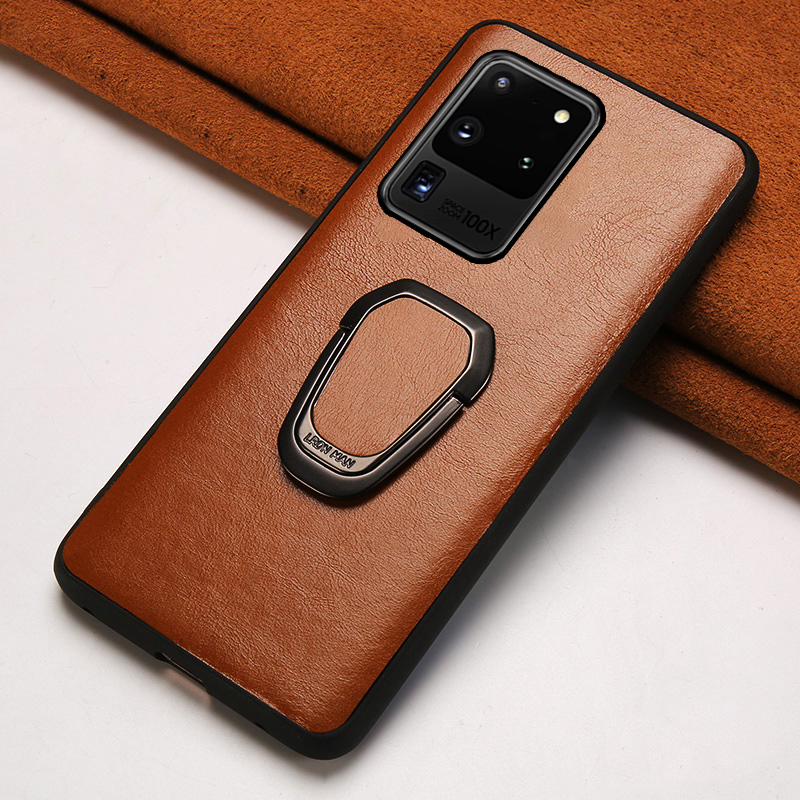Genuine Oil Wax leather Ring Magnetic Phone Case For Samsung Galaxy S20 Plus S20 Ultra Note 10 S8 S9 S10 Plus A50 A51 A71 A70 A8