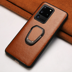 Genuine Oil Wax leather Ring Magnetic Phone Case For Samsung Galaxy S20 Plus S20 Ultra Note 10 S8 S9 S10 Plus A50 A51 A71 A70 A8(China)