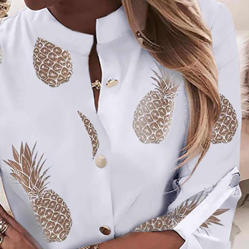 CALOFE femmes décontracté mode à manches longues ananas haut imprimé automne nouveau femme bouton bas Cardigans grande taille S-2XL