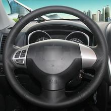 цена на Black Leather Car Steering Wheel Cover for Mitsubishi Lancer EX Outlander ASX
