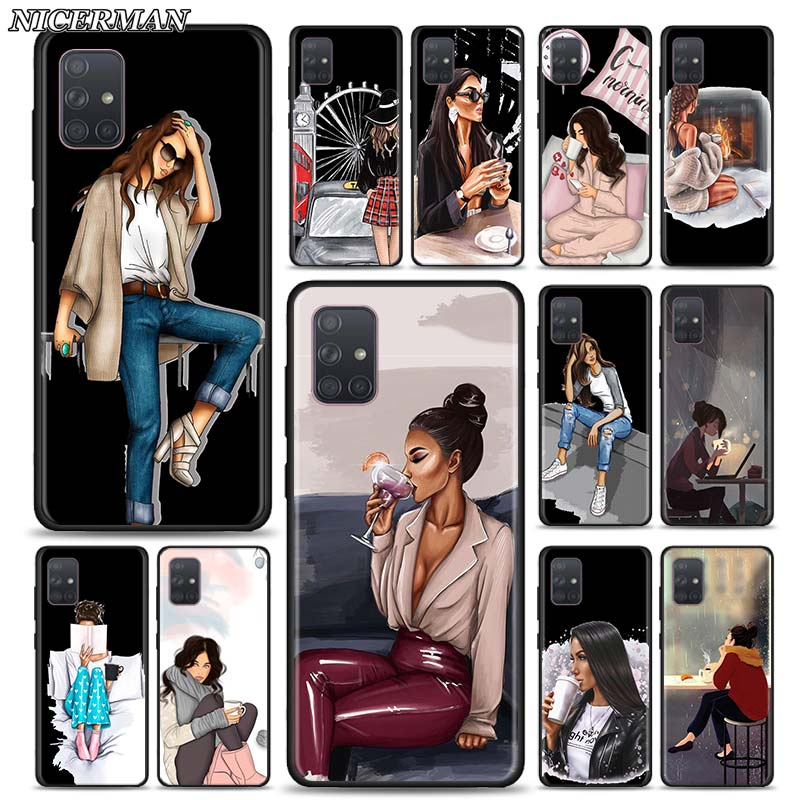 Case for Samsung Galaxy A70 A50 A40 A30S A20S A10 A10E A01 A21 A51 A71 Phone Fall Thin Shell Cover Paris Girl Summer Legs Travel image