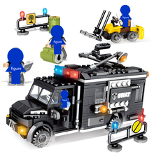 SEMBO City police Trucks Military Trunk Satellite Communication Equipment Vehicle Building Blocks Educational Toys For Children