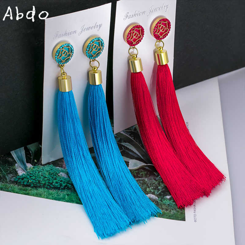 New Bohemian Crystal Tassel Earrings Black White Blue Red Pink Silk Fabric Long Drop Dangle Tassel Earrings For Women Jewelry