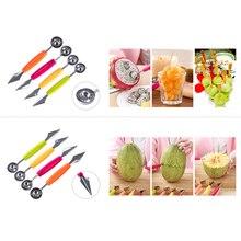 1 шт., двойной концевой нож для фруктов и дыни, нож для резьбы, кухонные инструменты из нержавеющей стали, многофункциональные инструменты для украшения мороженого