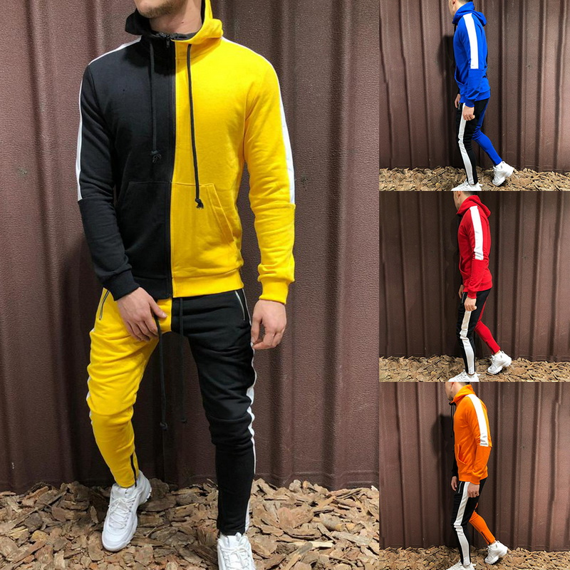 WENYUJH 2019 Autumn New Men Sets Fashion Patchwork Jacket Sporting Suit Hoodies+Sweatpants 2 Pieces Sets Slim Tracksuit Clothing