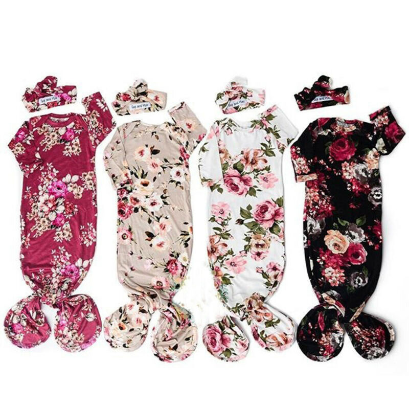 Autumn Newborn Baby Boy Girls Swaddle Wrap Flowers Print Cotton Infant Blanket Toddler Sleeping Bag+Gown Headband 2PCS Outfit