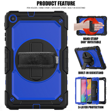 360 Rotating Case for Samsung Galaxy Tab A 10.1 2019 T510 T515 SM T510 SM 515 Tablet Cover with Hand Shoulder Strap +pen + Film