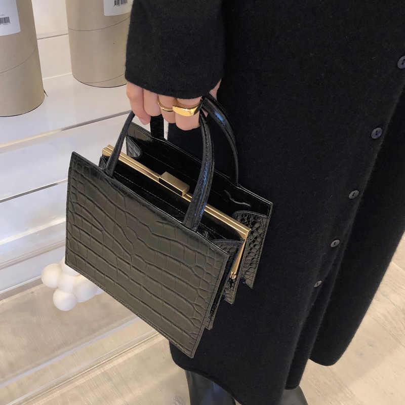 NEUE Herbst und winter neue krokodil muster clip tasche wilden modelle ins retro temperament handtasche schulter geschlungen handtasche