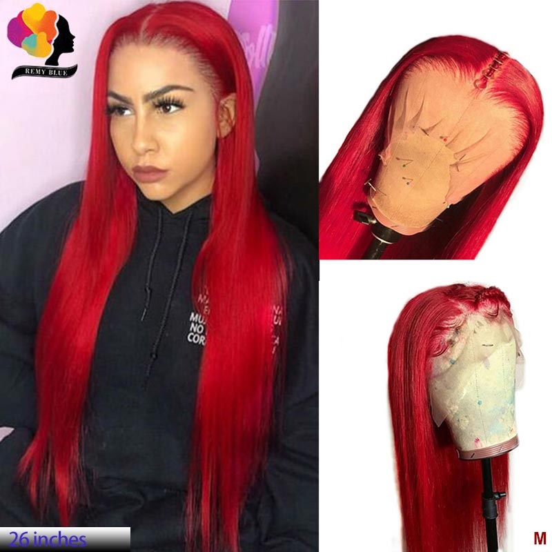 Red Burgundy 13*4 Lace Front Human Hair Wig For Women Brazilian Straight 150% Remy Lace Front Wig Pre Plucked Remyblue Hair Wig