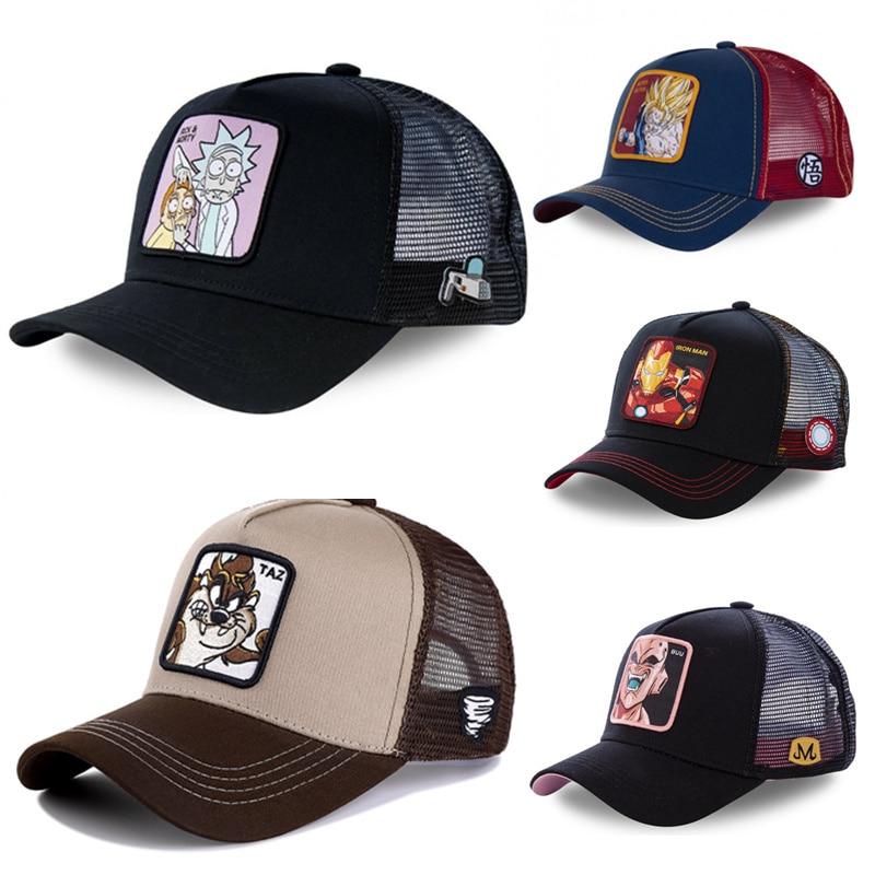New Brand Anime DRAGON BALL Rick And Morty Snapback Cap Cotton Baseball Cap Men Women Hip Hop Dad Mesh Hat Trucker Dropshipping