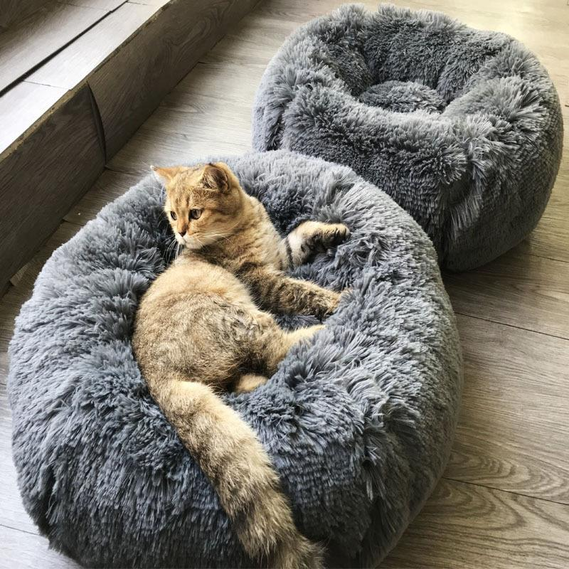 Kennel Dog Round Cat Winter Warm Sleeping Bag Long Plush Super Soft Pet Bed Puppy Cushion Mat Portable Cat Supplies 40/50/70cm