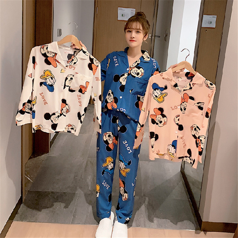Cotton Comfortable Shirt Lapel Pajamas 2-piece Long-sleeved Pants Pajamas Spring Summer Female Cartoon Cute Pajamas Home Service