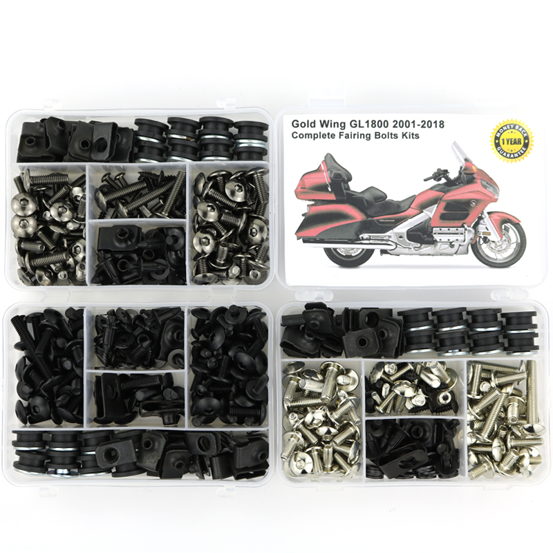 For HONDA GL1800 GOLDWING 2001-2018 Complete Full Fairing Bolts Kit Speed Nuts Motorcycle Side Covering Screws  Steel
