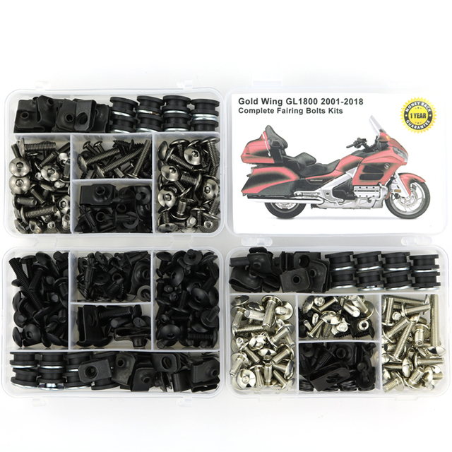 For HONDA GL1800 GOLDWING 2001 2018 Complete Full Fairing Bolts Kit Speed Nuts Motorcycle Side Covering Screws  Steel