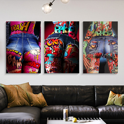 Graffiti Sexy Woman Buttocks Jean Shorts Art Canvas Print Painting Modern Living Room Wall Picture Home Decoration Poster