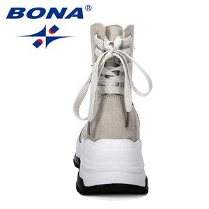 Image 2 - BONA 2019 nowi projektanci mody przypadkowi buty damskie buty skórzane buty grube obcasie buty śniegowce Femme damskie buty wygodne