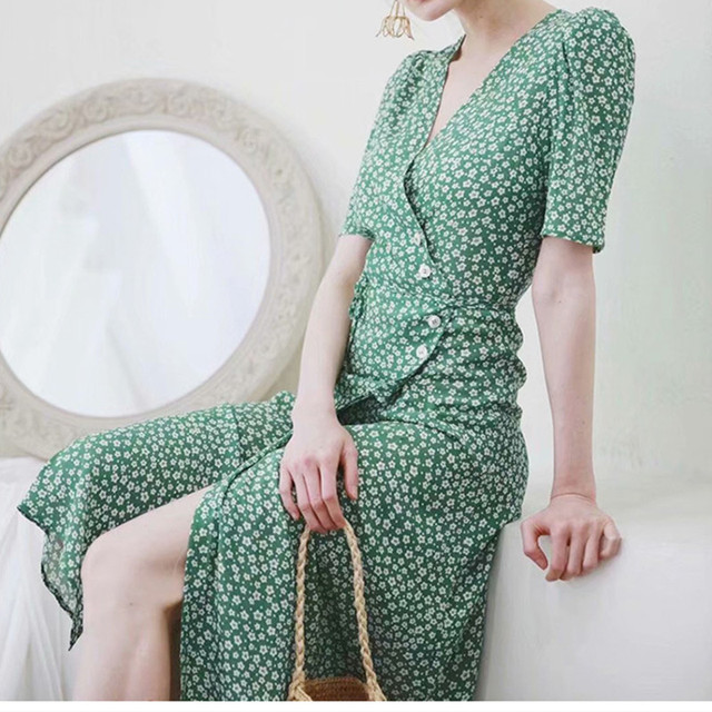 100% Viscose Floral Print Jeanne Damas Waist Buttons Summer Must Have Midi Wrap Dress With Sashes