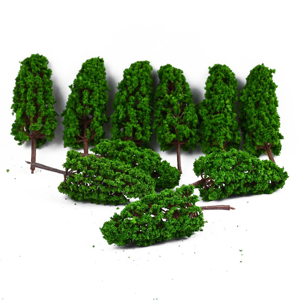 10PCS Ho Scale Plastic Miniature Model Trees For Building Trains Railroad Wargame Layout Scenery Landscape Diorama Accessories