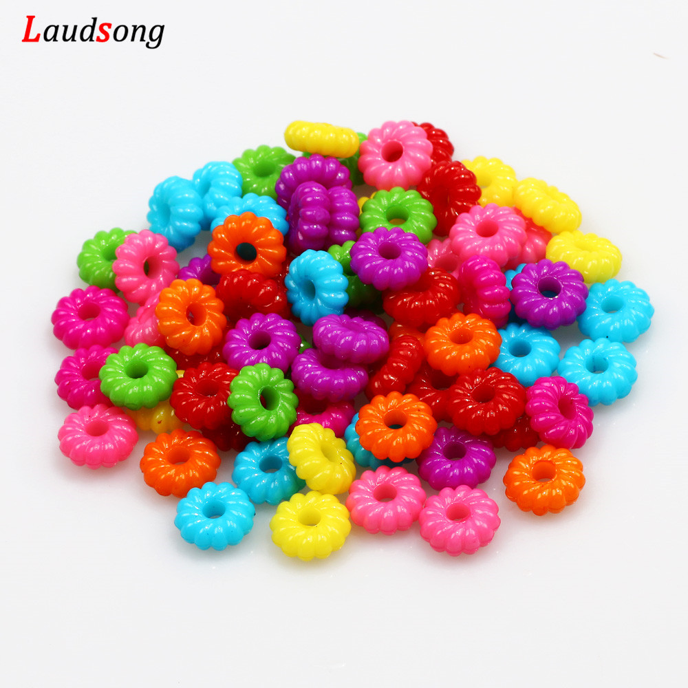 50 8mm Round Acrylic Mixed Color DIY Spacer Loose Beads Jewelry Necklace Making
