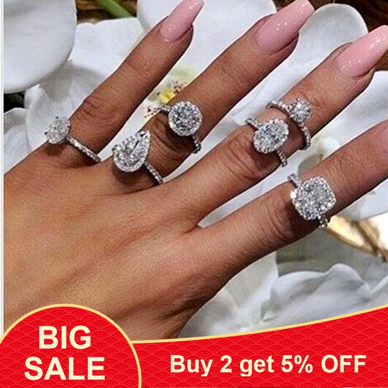 925 Sterling silver fashion Female Ring 3ct AAAAA cz Promise Wedding Band Rings for Women Bridal Finger Party Jewelry Gift(China)