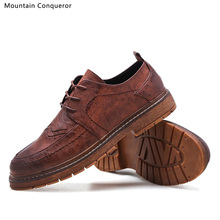 Mountain Conqueror Men Shoes Leather Boots Fashion Autumn Winter Top Brand Ankle Lace Up Footwear Casual