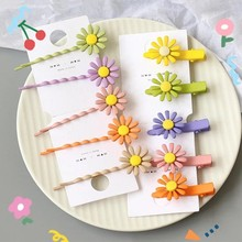 5Pcs/set New Daisy Flower Hair Pins Ins Barrettes Alloy Clips for Women Girls Accessories Mix Color Hairgrip Headwear