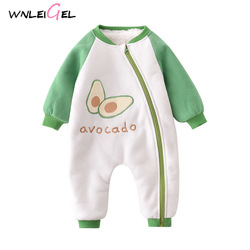 WLG toddler baby winter diagonal zipper velvet thick warm rompers baby boy girl  print full o-neck green siamese clothes 6-18M
