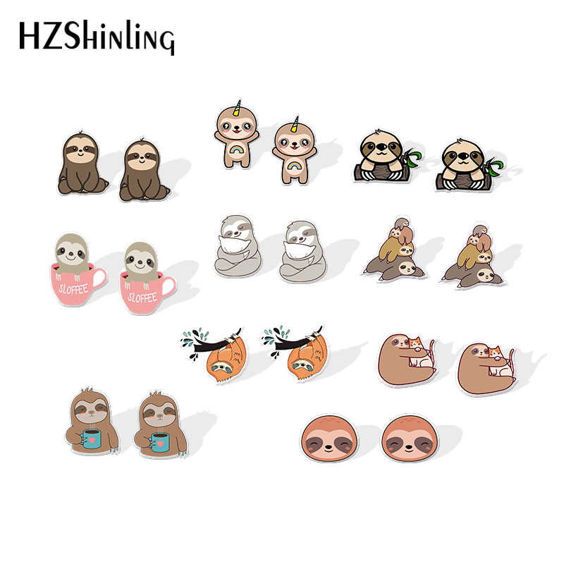 2019 Baru Lucu Sloth Akrilik Anting-Anting Malas Hewan Shrinky Dinks Anting-Anting Epoxy Stud Anting-Anting Hadiah Anak-anak