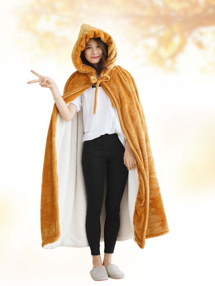 Одеяло с капюшоном, зимнее уплотненное Коралловое флисовое носимое одеяло, накидка, многофункциональная шаль, накидка, высокое качество, одеяло для ленивых - 4