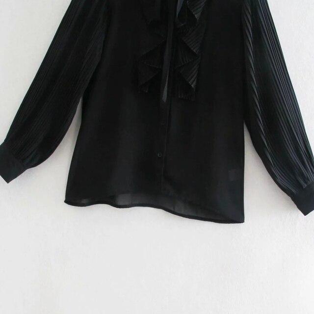 Spring Women Cascading Ruffle Black Chiffon Shirt Female Long Sleeve Blouse Office Lady Loose Tops Blusas S8638 6