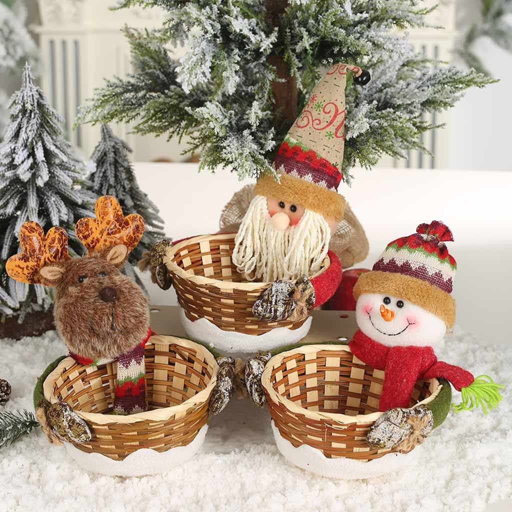 Merry Christmas Candy Storage Basket Decoration Santa Claus Storage Basket Products For Christmas Candy Container Hot Sale #R15