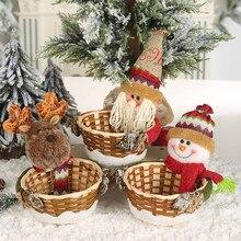 Cesta de almacenamiento de dulces de Navidad, decoración, Santa Claus, gran oferta, # R15