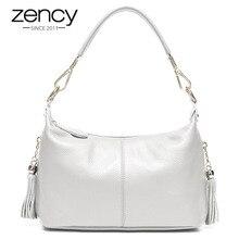Zency модная женская сумка через плечо, 100% натуральная кожа, женская сумка с кисточкой, женская сумка через плечо, маленькая сумка