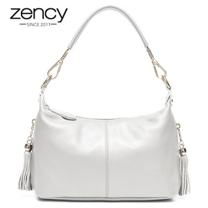 Image 1 - Zency Fashion Female Shoulder Bag 100% Natural Leather Women Handbag With Tassel Lady Messenger Crossbody Purse Small Bags Tote
