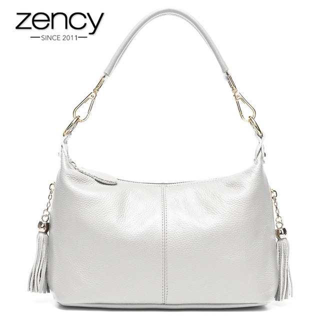 Zency Fashion Female Shoulder Bag 100% Natural Leather Women Handbag With Tassel Lady Messenger Crossbody Purse Small Bags Tote