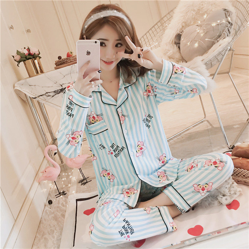 Hot Selling Pajamas Women's Cartoon Stripes Leopard Long Sleeve Double-Sided Qmilch Cardigan Pajamas