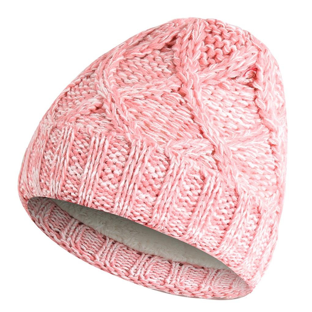 2Pcs/Set Kids Children Winter Ski Cap Warm Knit  Beanies Hat Cute Cap For Girls Boys Caps Loop Scarf Set Velvet Lining Headwear