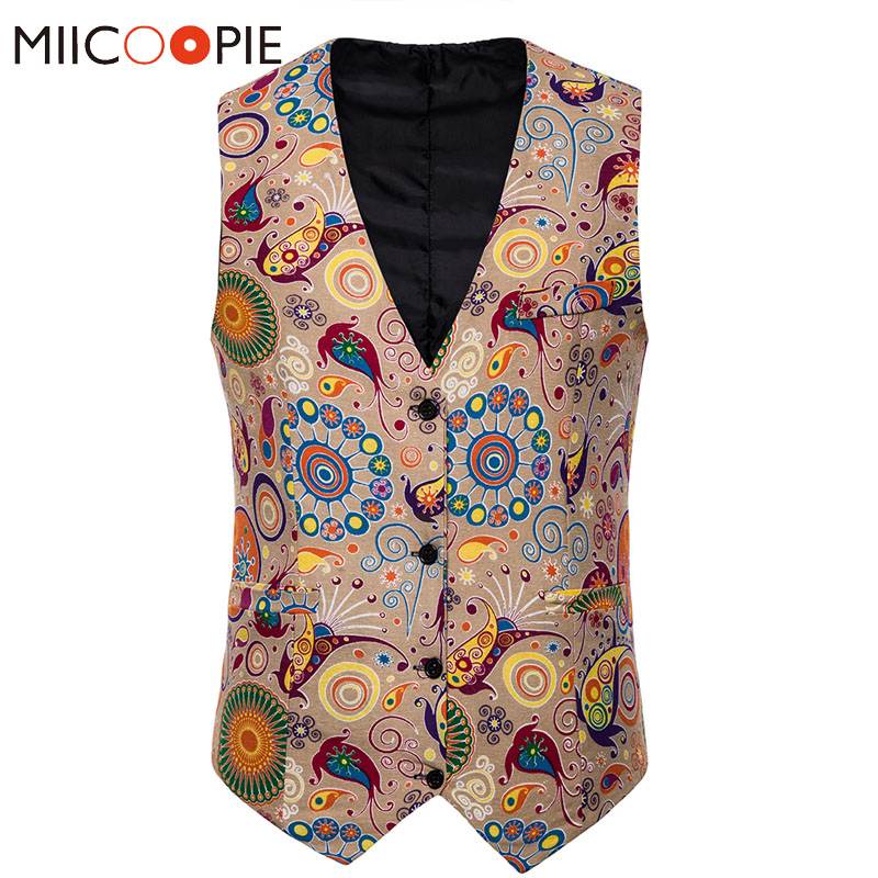 Floral Suit Vest Men Fashion Plus Size M-4XL Single Breasted Sleeveless Gilet Homme Costume Autumn Linen Breathable Waistcoat