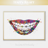 Special Wall Design Dental Art Painting Hand painted Abstract Colorful Incisors Acrylic Painting Colorful Teeth Acrylic Painting