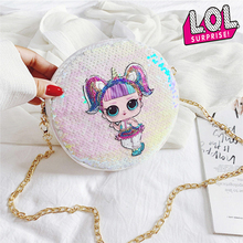 ЛОЛ Сюрприз куклы оригинальный женский рюкзак с блестками мода тенденция сумка Дикий цепи туалетные плеча PU круглый небольшой бумажник