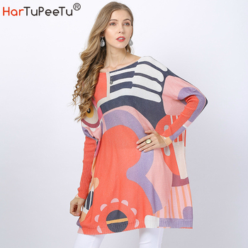 Sweater Dress Women Oversize Wool Knit Sweater Colourful Piano Print Loose Batwing Long Sleeve Pollover Tops 2020 Autumn Winter batwing sleeve self tie knit dress