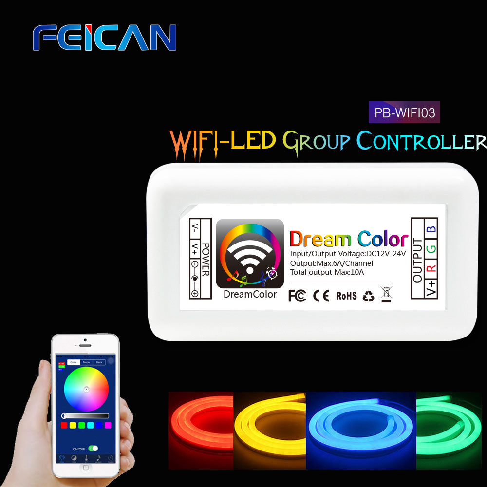 Wifi LED RGB Controller DC12 24V 10A 3CH 4CH RGB Mini LED Controller By Android and IOS APP For SMD3528 5050 LED Strip Light in RGB Controlers from Lights Lighting