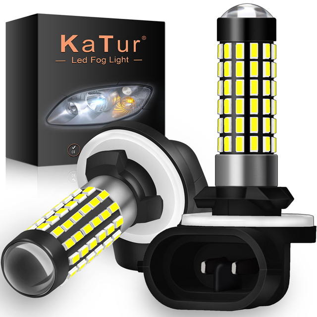 Katur 2pcs H27W/2 881 Led Bulbs Fog Lights for Cars Led Fog Driving Lamp High Lights Car Light Sourse 6000K White H27W H27 Led