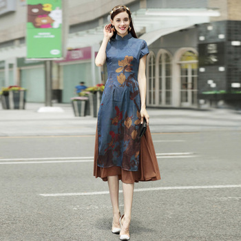 Womens Summer Dress New Daily Slim Long Section Chinese Style Improved Cheongsam Fashion Printing Hit Color Qipao Dress
