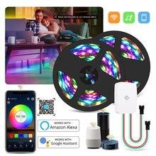 Dc 12v wifi endereçável ws2811 pixel inteligente led luz de tira kit magia casa wifi controle de voz 5m 10m 15m 20m 5050 rgb ic led fita