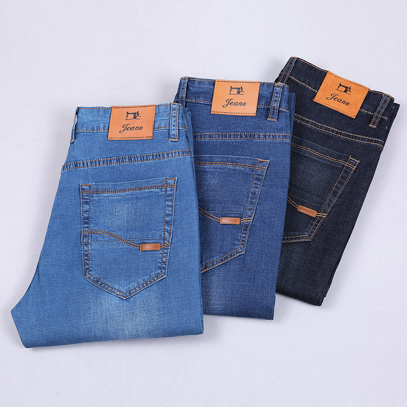 2019 Elasticity Spring And Summer Business MEN'S Jeans Straight-Cut Loose-Fit Middle-aged Large Size MEN'S Jeans High-waisted Me