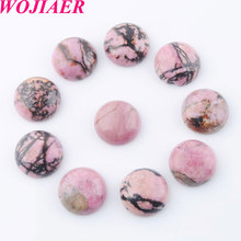 WOJIAER Rhodochrosite Round 16mm Cabochon Beads Natural Stone Healing Bead Fit for Women Men DIY Handmade Jewelry 50PCS PU8236