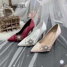 Купить с кэшбэком Luxury Women Wedding Shoes High Heels Rhinestone Silk Woman Pumps Pointed Toe Brand Party Shoes Heels Plus Size New Arrival 2020